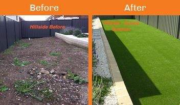 hillside before & after xtreme turf work