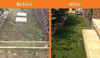 bank before & after xtreme turf work